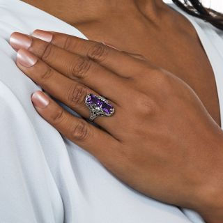 Art Deco Double Amethyst Ring by J.J. White