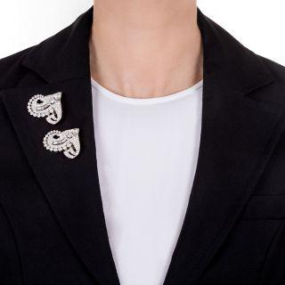 Art Deco Double Clip Brooch