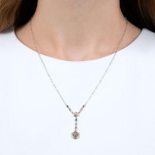 Art Deco Double Diamond and Sapphire Necklace