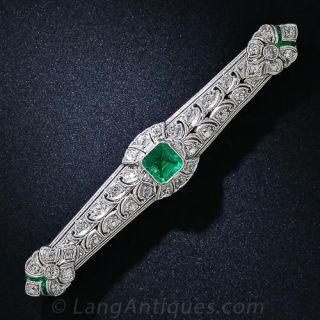 Art Deco Emerald and Diamond Bar Pin