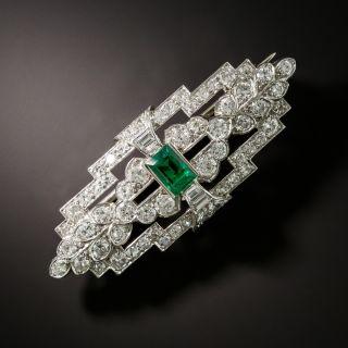 Art Deco Emerald and Diamond Brooch - 2