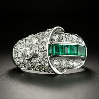 Art Deco Emerald and Diamond Buckle Style Ring - 2