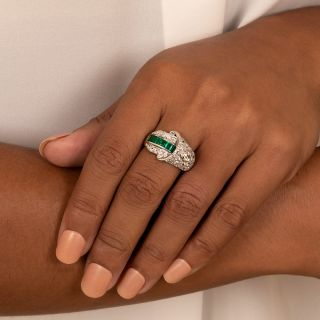 Art Deco Emerald and Diamond Buckle Style Ring
