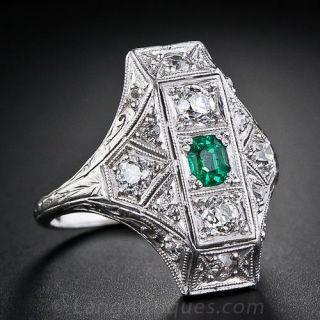 Art Deco Emerald and Diamond Dinner Ring