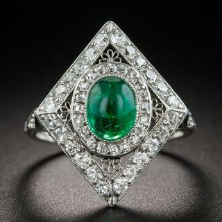 Art Deco Emerald and Diamond Dinner Ring - 2