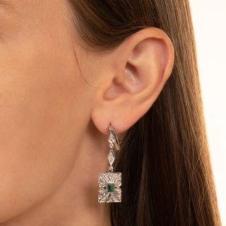 Art Deco  Emerald and Diamond Drop Earrings
