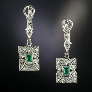 Art Deco Platinum Emerald and Diamond Drop Earrings - 2