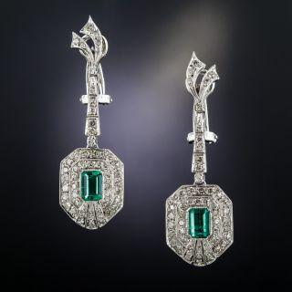 Art Deco Emerald and Diamond Earrings - 1