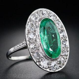 Art Deco Emerald and Diamond Ring - 1