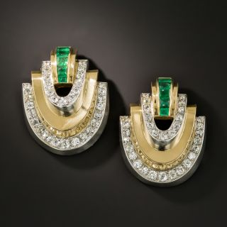 Art Deco Emerald and Diamond Twin Clips - 2