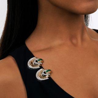 Art Deco Emerald and Diamond Twin Clips