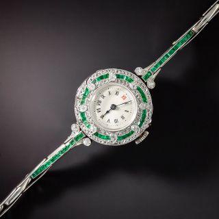 Art Deco Emerald and Diamond Watch - 1