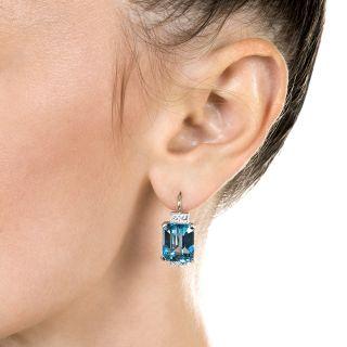 Art Deco Emerald-Cut Aquamarine and Diamond Earrings