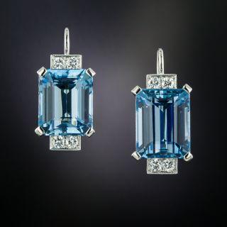 Art Deco Emerald-Cut Aquamarine and Diamond Earrings - 5