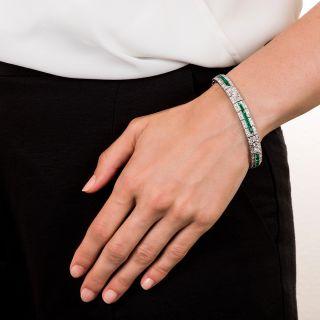 Art Deco Emerald Diamond Line Bracelet