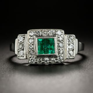 Art Deco Emerald Diamond Platinum Ring - 2