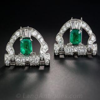 Art Deco Emerald Platinum and Diamond Dress Clips - Austrian - 1