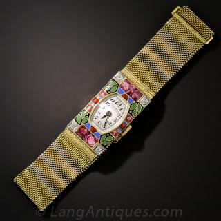 Art Deco Enamel and Tri-Color Gold Watch by GÜBELIN
