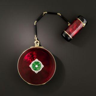 Art Deco Enamel, Jade and Diamond Compact and Lipstick Case - 2