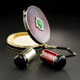 Art Deco Enamel, Jade and Diamond Compact and Lipstick Case