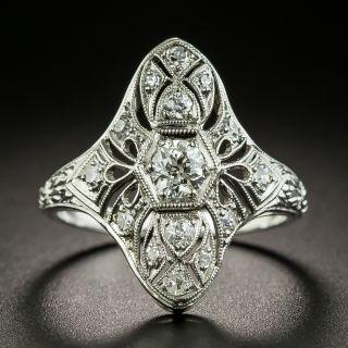 Art Deco Engraved Three-Stone Diamond Dinner Ring - 1