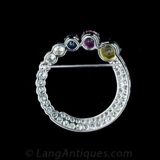 Art Deco Fancy Sapphire Circle Pin