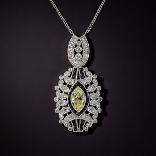 Re-add small diamond weights! ...........   Art Deco Bracelet with Fancy Yellow Marquise Diamond Center - 1