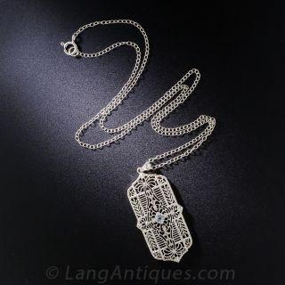 Art Deco Filigree and Aquamarine Pendant
