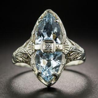 Art Deco Filigree Aquamarine and Diamond Dinner Ring