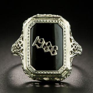 Art Deco Filigree Onyx 1936 Ring - 2