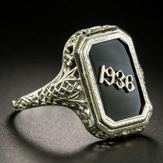 Art Deco Filigree Onyx 1936 Ring