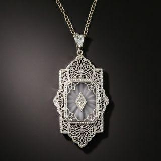 Art Deco Filigree Quartz and Diamond Pendant - 2