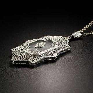 Art Deco Filigree Quartz and Diamond Pendant