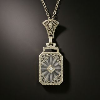 Art Deco Filigree Quartz and Diamond Pendant by Abel Brothers - 2