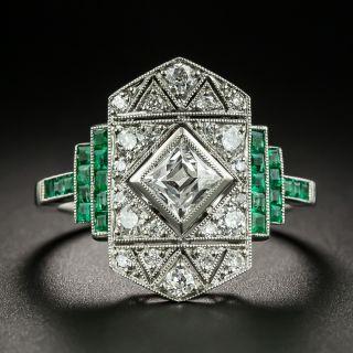 Art Deco French Cut Diamond and Emerald Dinner Ring - 2