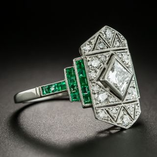 Art Deco French Cut Diamond and Emerald Dinner Ring