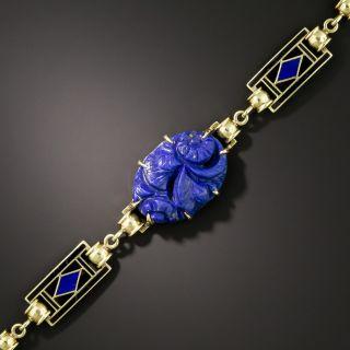 Art Deco Geometric Enamel and Carved Lapis Bracelet by Richardson & Co - 3