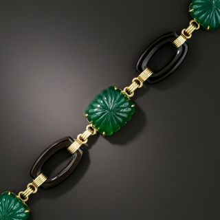 Art Deco Green Chalcedony and Black Onyx Link Bracelet - 3