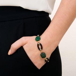 Art Deco Green Chalcedony and Black Onyx Link Bracelet