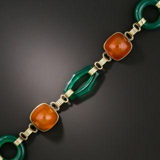 Art Deco Green Chalcedony and Carnelian Bracelet - 3