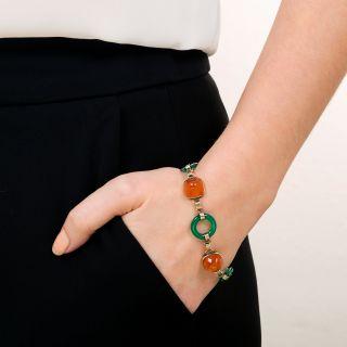 Art Deco Green Chalcedony and Carnelian Bracelet