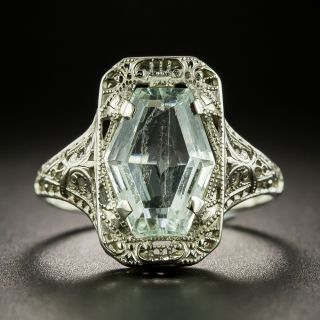 Art Deco Hexagonal Aquamarine Filigree Ring - 2