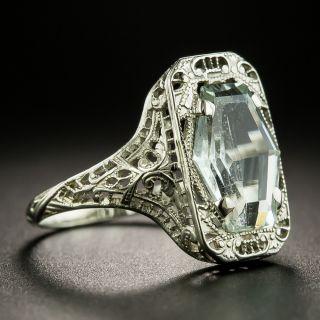 Art Deco Hexagonal Aquamarine Filigree Ring