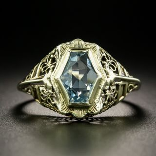 Art Deco Hexagonal-Cut Aquamarine Filigree Ring - 2