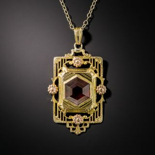 Art Deco Hexagonal Garnet Pendant - 2