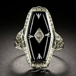 Art Deco Hexagonal Onyx and Diamond Dinner Ring - 3