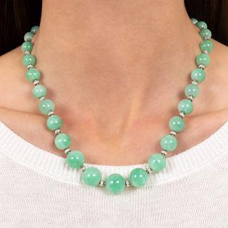 Art Deco Jade Bead and Diamond Rondelle Necklace