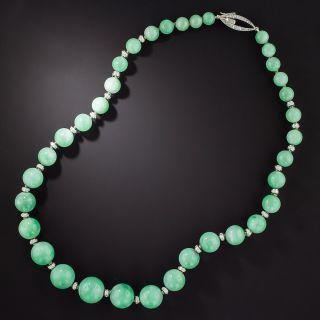 Art Deco Jade Bead and Diamond Rondelle Necklace - 1