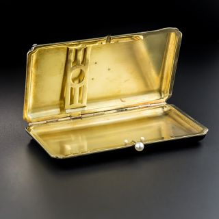 Art Deco Jade, Diamond & Enamel Cigarette Case