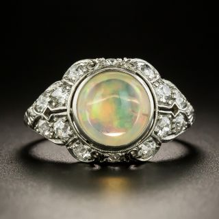 Art Deco Jelly Opal and Diamond Ring - 2